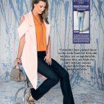 These dark, slick jeans elongate Emma's hourglass figure